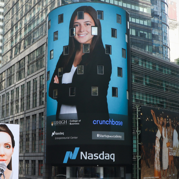 Startup Academy student on Nasdaq Tower in Times Square